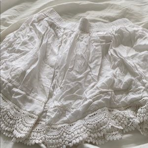 White lace trimmed skirt
